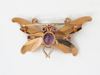 Fab Forties Rose Gold and Amethyst Butterfly Pin