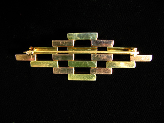 Geometric Rose Green Gold Deco Brooch