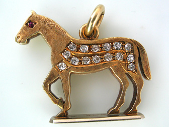 Gold and Diamond Horse Fob