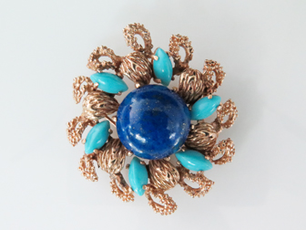 Gold Lapis and Turquoise Sunburst Pin/Pendant
