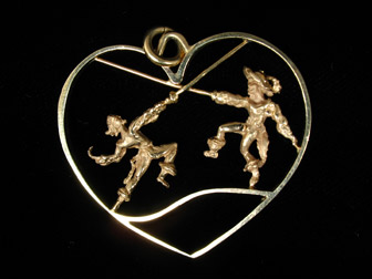 Gold Musketeer Swordsman Heart Pendant