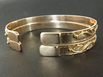 Pair 14K Gold Decorative Bracelets