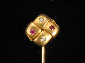 RubyDiamond Gold Victorian Stickpin