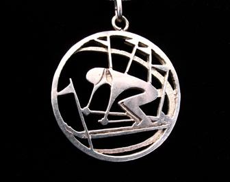Silver Racer Skier Pendant
