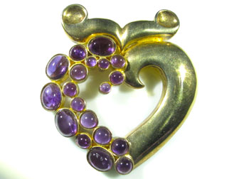 Sterling Amethyst Cornucopia Heart Pin