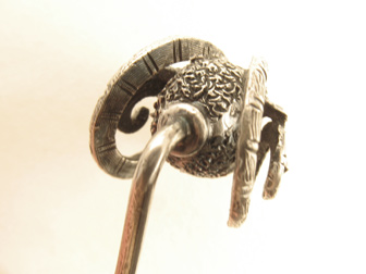 Sterling Rams Head Stickpin