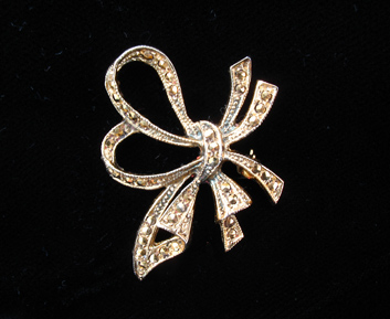 Vermeil Marcasite Bow Brooch