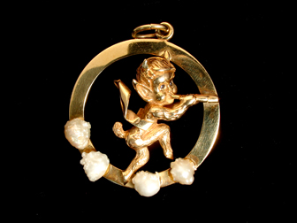 Vintage William Ruser Gold Faun Pendant
