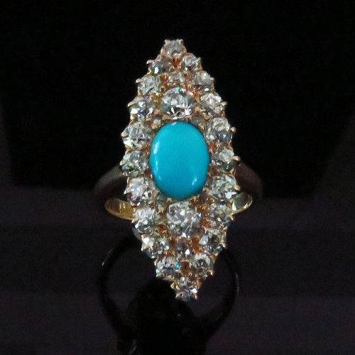 Victorian Gold and Turquoise Diamond Cluster Ring