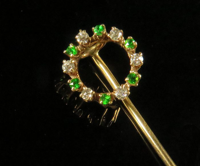 Gold Demantoid and Diamond Stickpin