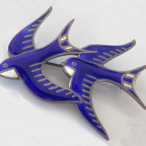 Sterling Enamel Double Swallow Pin by S. Christian