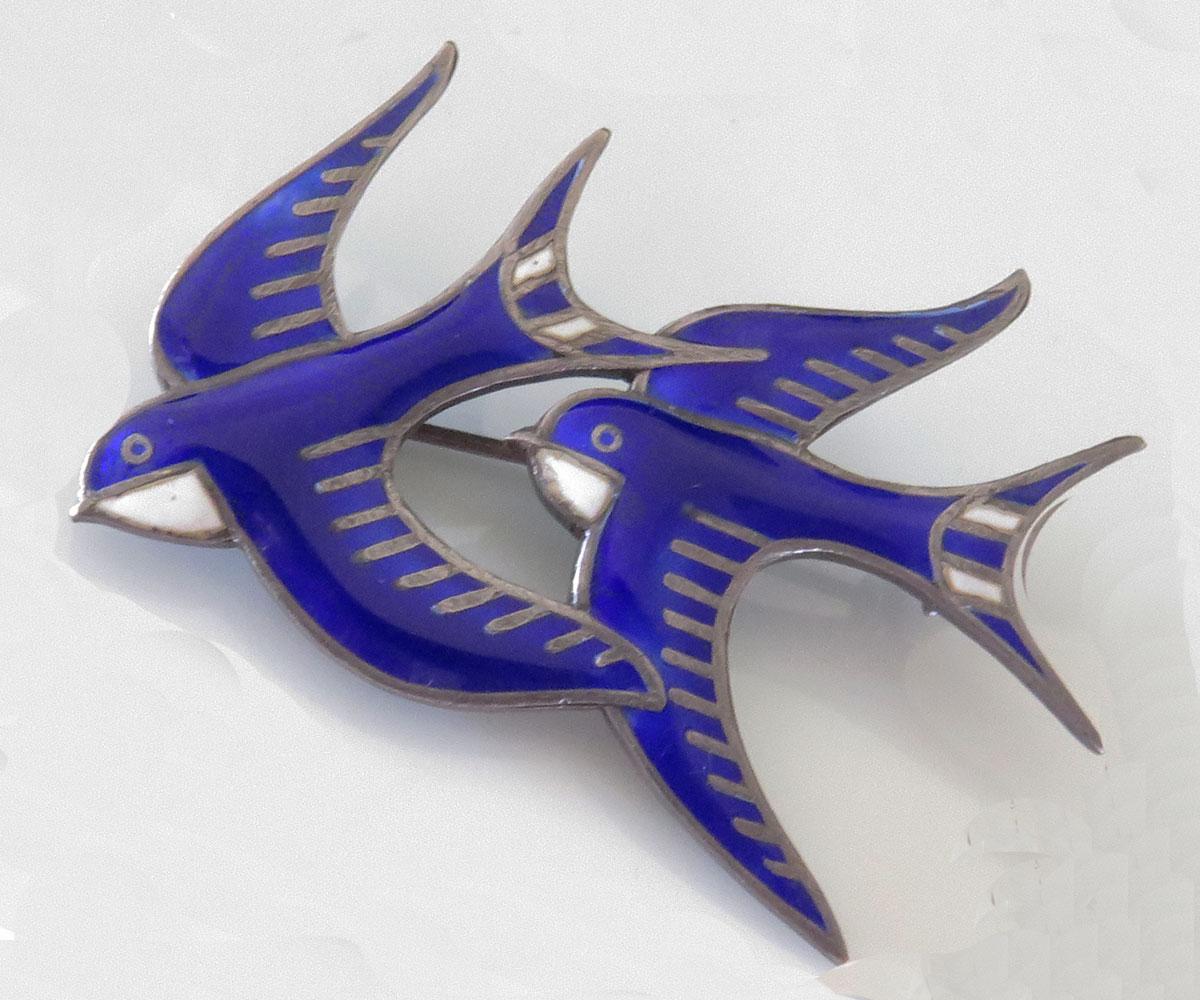 Sterling Enamel Double Swallow Pin by S. Christian