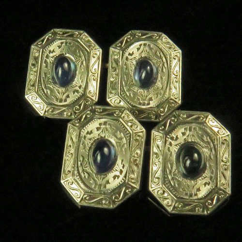 Edwardian Platinum on Gold Sapphire Cufflinks