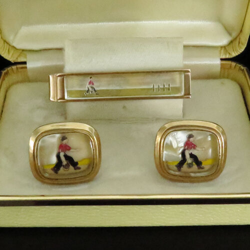 Bowling Cufflinks and Tie bar Set