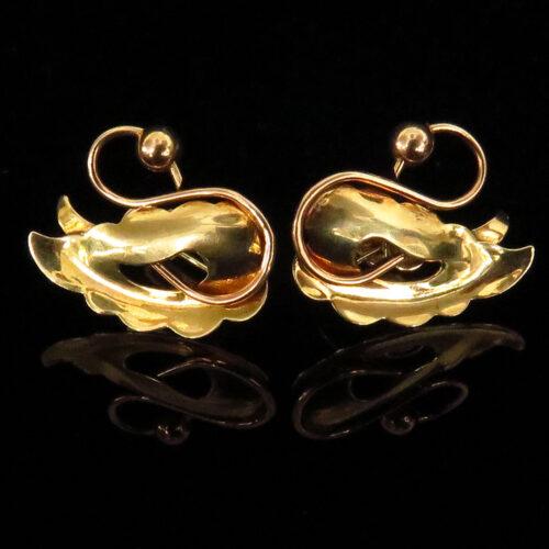 Retro Gold Swan Earrings