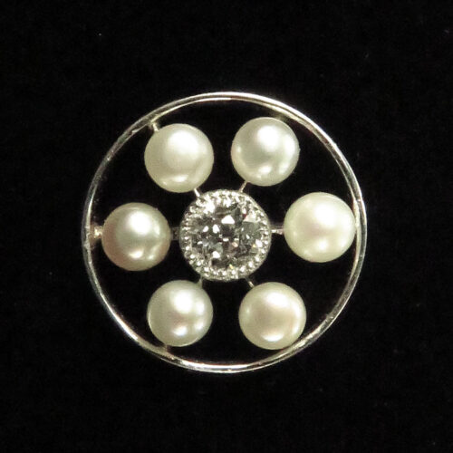 Edwardian Pearl Diamond Stickpin
