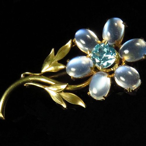 Gold Moonstone & Zircon Flower Brooch
