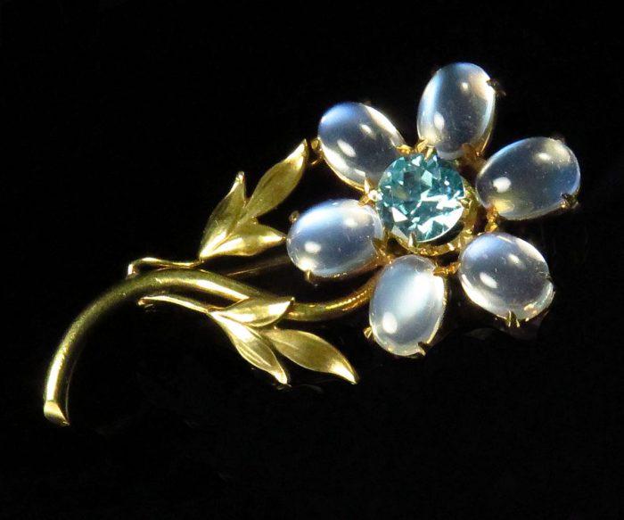 Gold Moonstone & Zircon Flower Brooch
