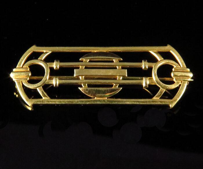 Gold Deco Brooch