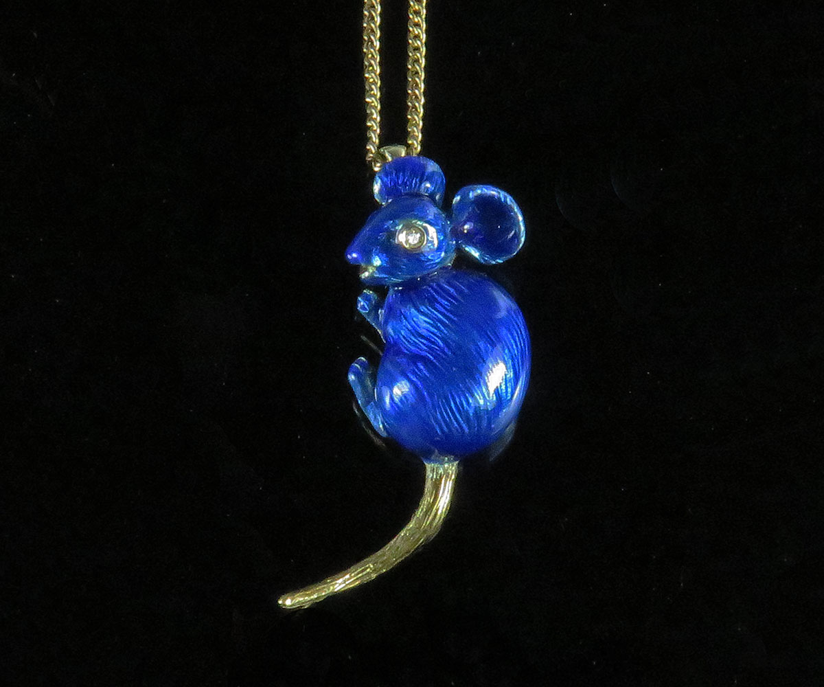 Gold and Enamel Mouse Pendant