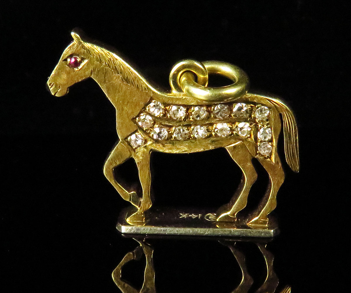 Gold & Diamond Horse Fob