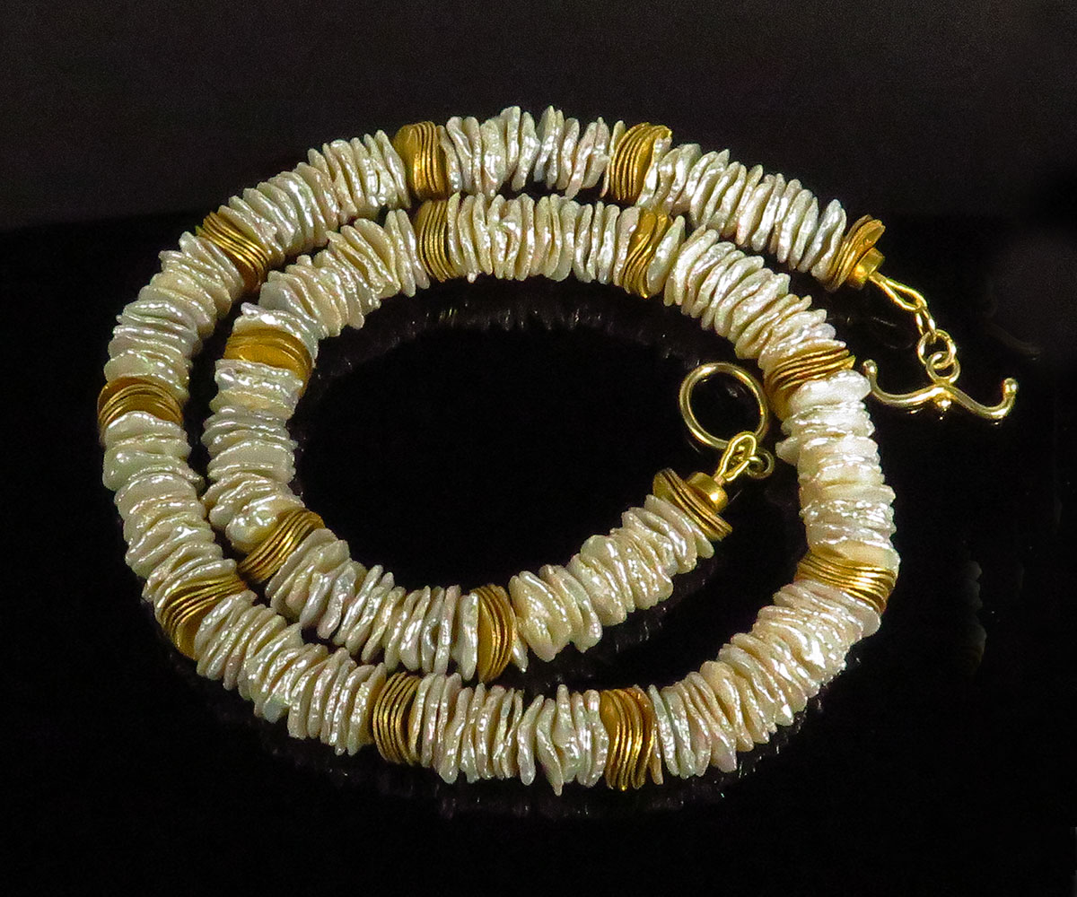 Keshi Pearl Power Strip Necklace