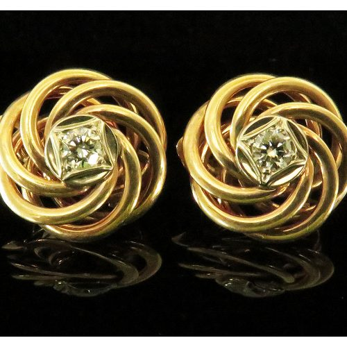 14K Yellow Gold & Diamond Swirl Earrings