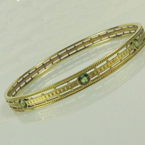 Deco Gold Tourmaline Bangle