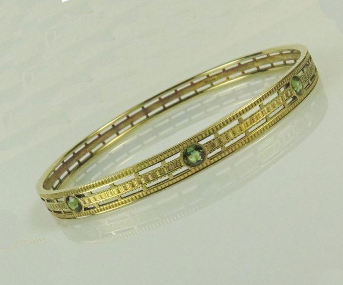 Deco Gold Tourmaline Bangle