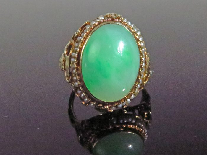 Gold Arts & Crafts Jadeite & Pearl Ring