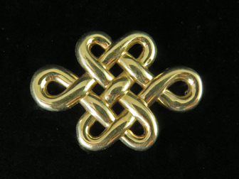 14K Yellow Gold Celtic Knot Design Pin