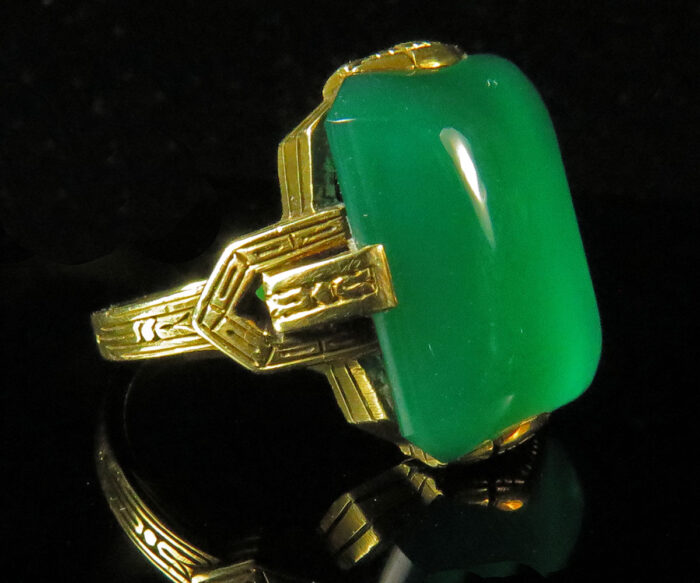 Gold Deco Green Onyx Ring