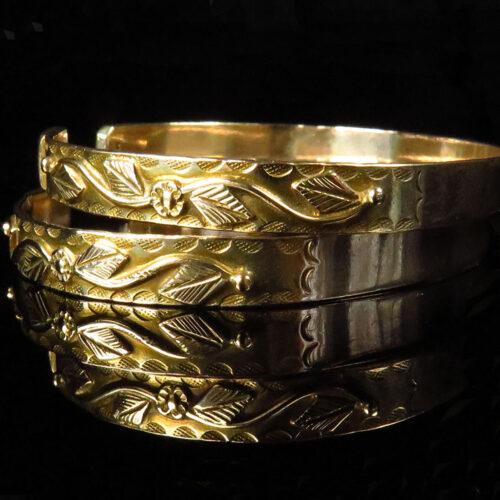 Pair of 14K Gold Decorative Foliate Bracelets