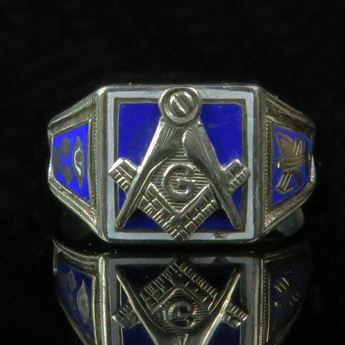 Gold Enamel Men's Masonic Ring