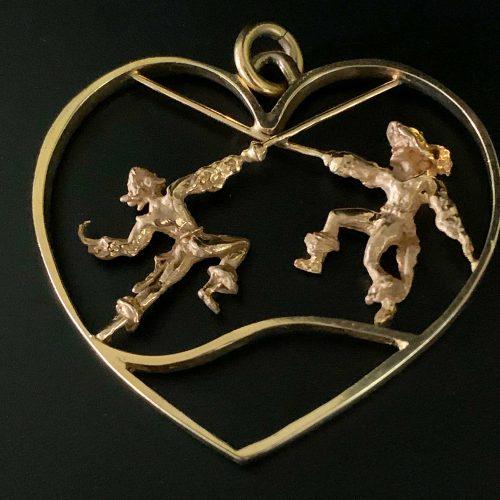 Gold Musketeer Swordsman Heart Pendant