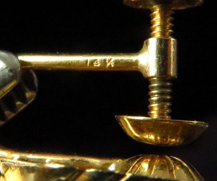 Gold Seashell Earrings with Rubies and Diamonds
