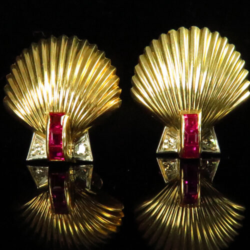 Gold Seashell Earrings with Rubies and Diamonds