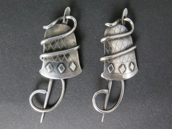 Custom Pair of Sterling Thimble Thread Needle Pins