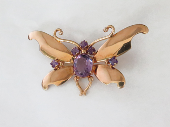 Fab Forties Rose Gold & Amethyst Butterfly Pin
