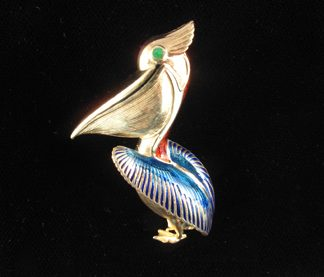 Gold and Enamel Pelican