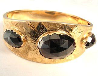 Gold Bangle with Large Rosecut Garnets