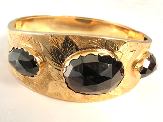 Gold Bangle with Large Rosecut Garnets