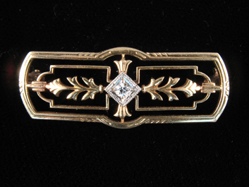 Gold and Diamond Edwardian Brooch