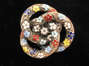 Gold Enamel Loveknot Brooch