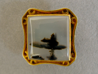 Gold Moss Agate Pin