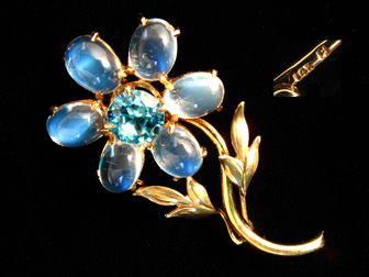 Moonstone and Zircon Flower Brooch