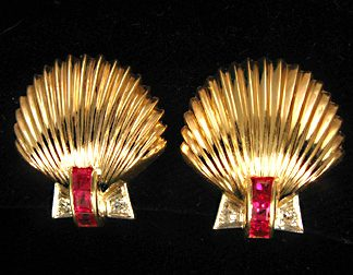 Shell and Ruby and Diamond Earrings