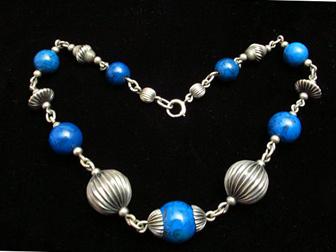 Sterling Bead Dyed Blue Jasper Choker