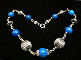 Sterling Bead Dyed Blue Jasper Choker