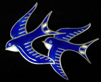 Sterling Enamel Double Swallow Pin